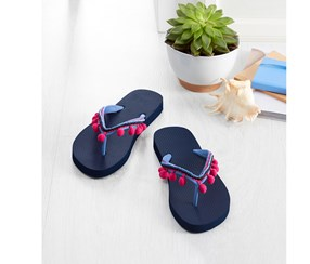 Women's Thong Sandals, Black/Pink/Blue