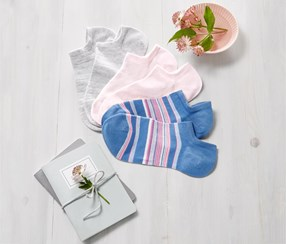 Women's Sneaker Socks, Pink/Gray/Blue