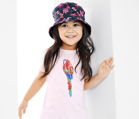 Girl's Sun Hat, 53×56 cm, NavyBlue/Pink/Red