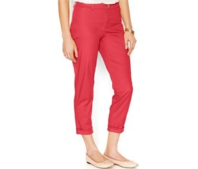 Maison Jules Cropped Straight Pants, Orange