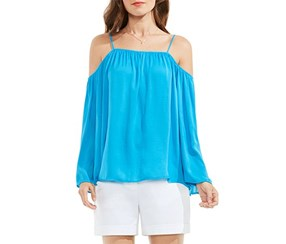Vince Camuto Havana Brights Cold Shoulder Blouse, Blue