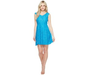 Ellen Tracy Women's Lace Fit Flare Dress, Blue