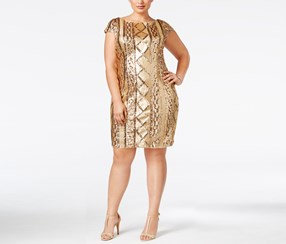Adrianna Papell Women's Plus Size Cap Sleeve Cable Sequin Dress, Gold