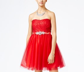 Crystal Doll Junior's Lace Tulle Fit & Flare Dress, Red