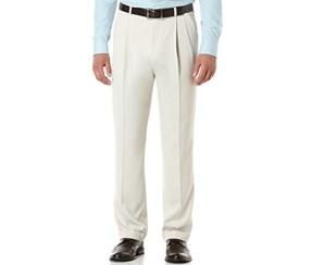 Perry Ellis Men's Double Pleated Classic Fit Micro Melange Pant, Sand
