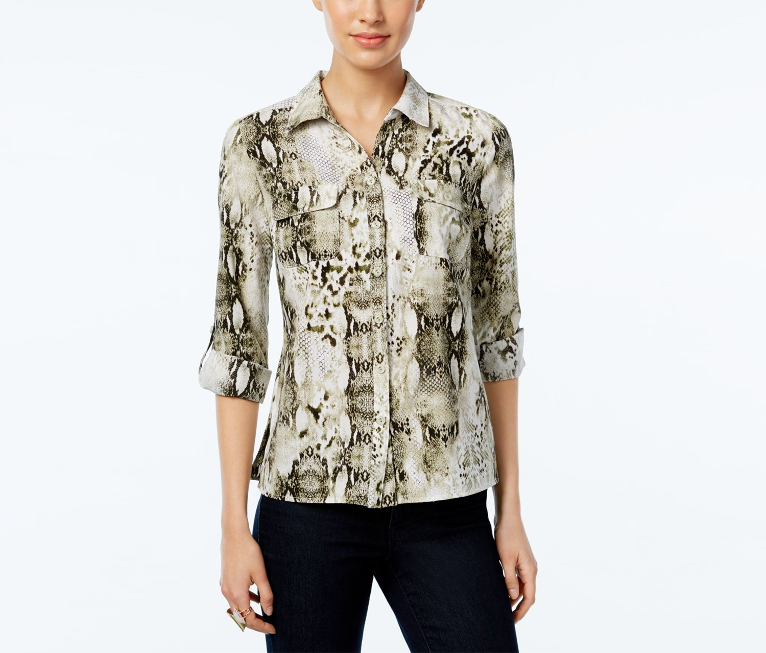 973efe90 Shop NY Collection Ny Collection Petite Printed Utility Shirt, Off ...