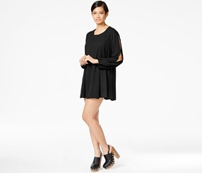 Bar III Long-Sleeve Printed Shift Dress, Black
