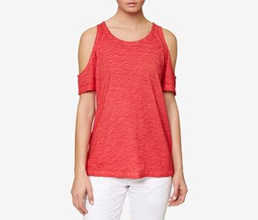 Sanctuary Heathered Cold-Shoulder Top, Pomgranate