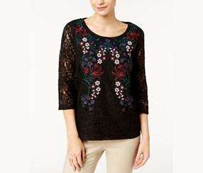 Charter Club Embroidered Lace Top, Deep Black