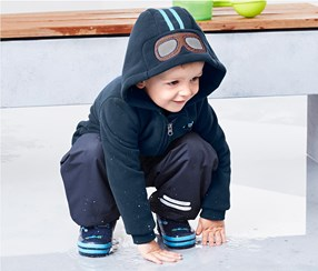 Toddlers Hooded Fleece Jacket, Dark Blue