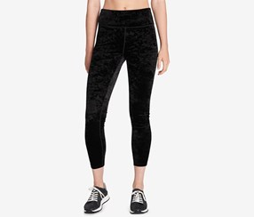 Crushed Velvet Cropped Legging, Black