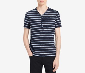 Calvin Klein Mens Striped V-Neck Henley, Classic Navy