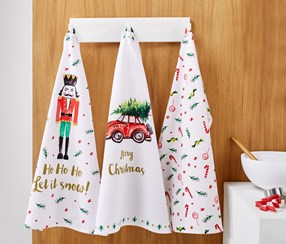 3 Tea Towels, White/Red/Green