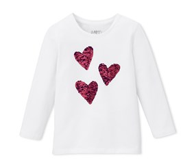 Girls Shirt Reversible Sequins, White