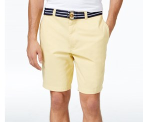 Club Room Men's Estate Flat-Front Belted Shorts, Tortilla
