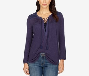 Lucky Brand Lace-Up Peasant Top, Eclipse/Navy