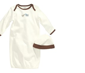 Little Me Baby Boys' Cute Puppies Gown And Hat, Ivory