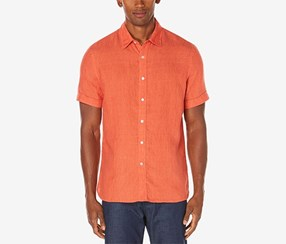Perry Ellis Mens Chambray Linen Shirt, Mineral Red