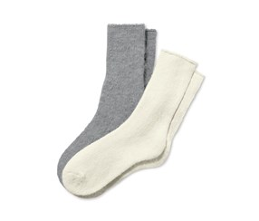 Women's Cosy Socks, Grey/Off White