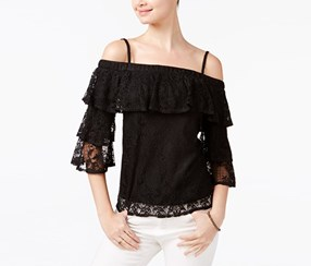 Bcx Style Juniors' Lace Cold-shoulder Top,  Black