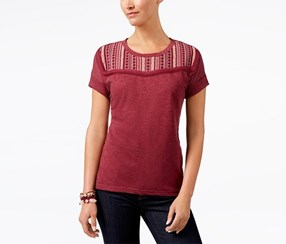 Style & Co Embroidered Short-Sleeve Top,  Orchard Vine