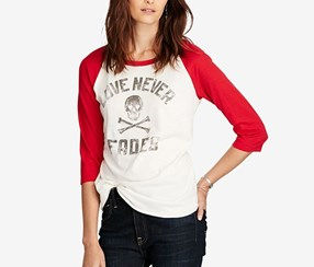 Denim Supply Ralph Lauren Raglan Graphic-Print T-Shirt, White/Red