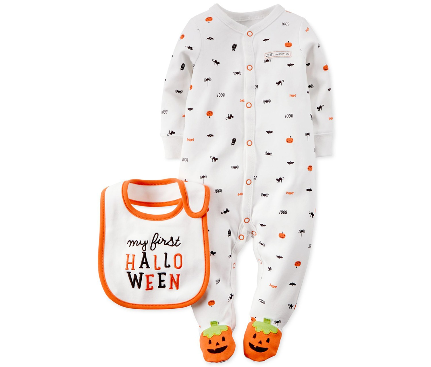 798dbb879 Shop Carters Carter's Baby First Halloween Coverall & Bib Set, White ...