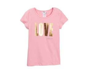 Bebe Girls Foil Screen Print Love Tee, Pink
