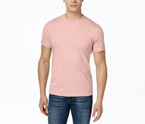 Men Crew Neck Short Sleeve Top, Vibrant Coral Heather Pink