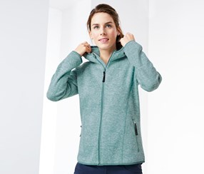 Women's Knitted Fleece Hooded Jacket, Mint Mottled