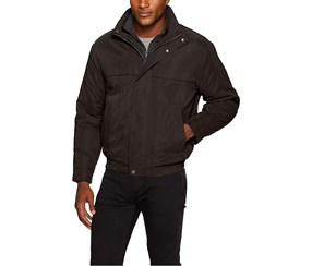 Weatherproof  Men's Bomber Jacket with Bib Insert, Black