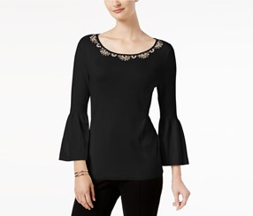 Charter Club Embellished Sweater, Deep Black
