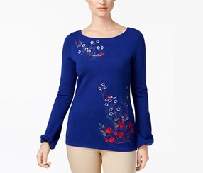 Charter Club Embroidered Top, Bright Sapphire