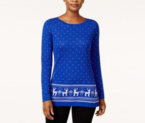 Cotton Reindeer Sweater, Bright Blue Combo