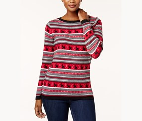 Cotton Terrier-Print Sweater, New Red Amore Combo