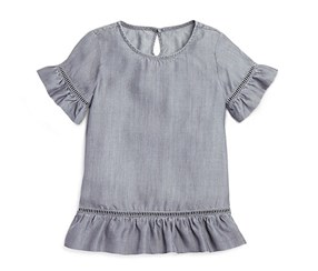 Aqua Girls' Ruffle Trim Top, Grey