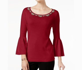 Charter Club Embellished Sweater, New Red Amore
