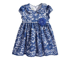 Marmellata Baby Girl's Sparkle Lace Dress, Navy