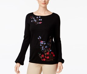 Charter Club Embroidered Top, Deep Black