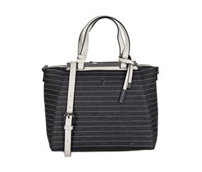 Christian Lacroix Women's Giulia Satchel Bag, Black Denim Stripe