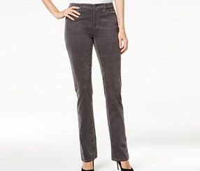 Lexington Corduroy Straight-Leg Pants, Shadow Grey