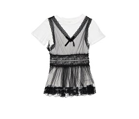 Bebe Kid's Girl Top with Lace Trim, Black/White