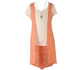 Speechless Girls' Vest T-Shirt & Necklace Set, Orange/White