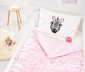 Two-Sided Bedding For Toddlers,100 x 135 cm, Pink/White