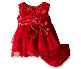 Bonnie Baby Girl's Bonaz Dress With Tiered Hi-Low Mesh Skirt, Red