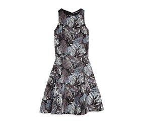 Miss Behave Girl's Fern Print Double Cutout Dress, Black/Grey/Blue