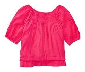 Ralph Lauren Childrenswear Cotton Blend Smocked Top, Fuchsia Pink