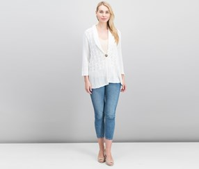 JM Collection Pointelle Cardigan, Bright White