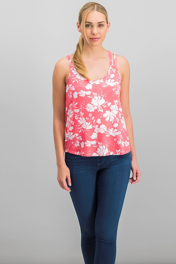 0ec8780932 Hippie Rose Juniors' Strappy-Back Tank Top, Coral Floral