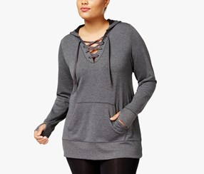 Ideology Plus Size Lace-Up Hoodie, Charcoal Heather